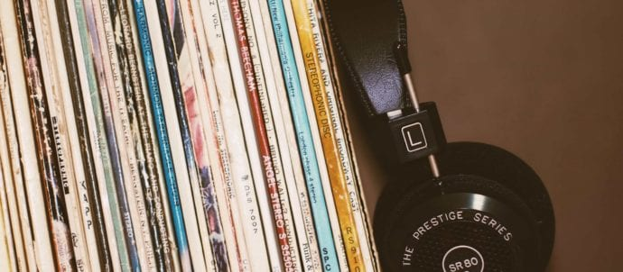 record bin and headphones